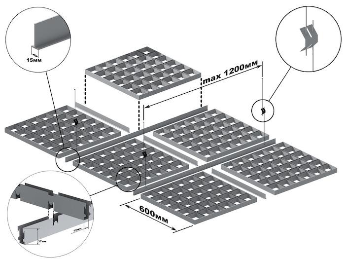 Подвесная система КР-15 для ячеистого потолка